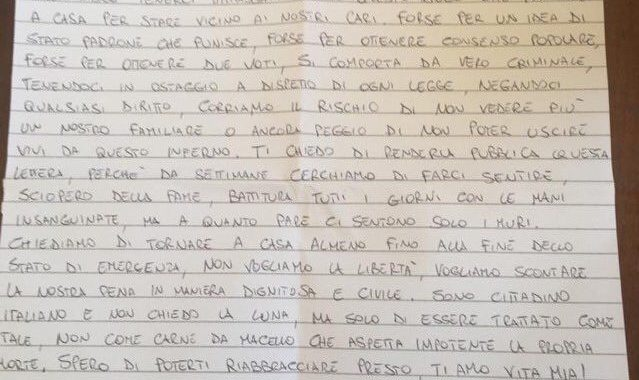 """""""Il vero criminale è lo stato"""", lettera dal carcere di Chieti"""