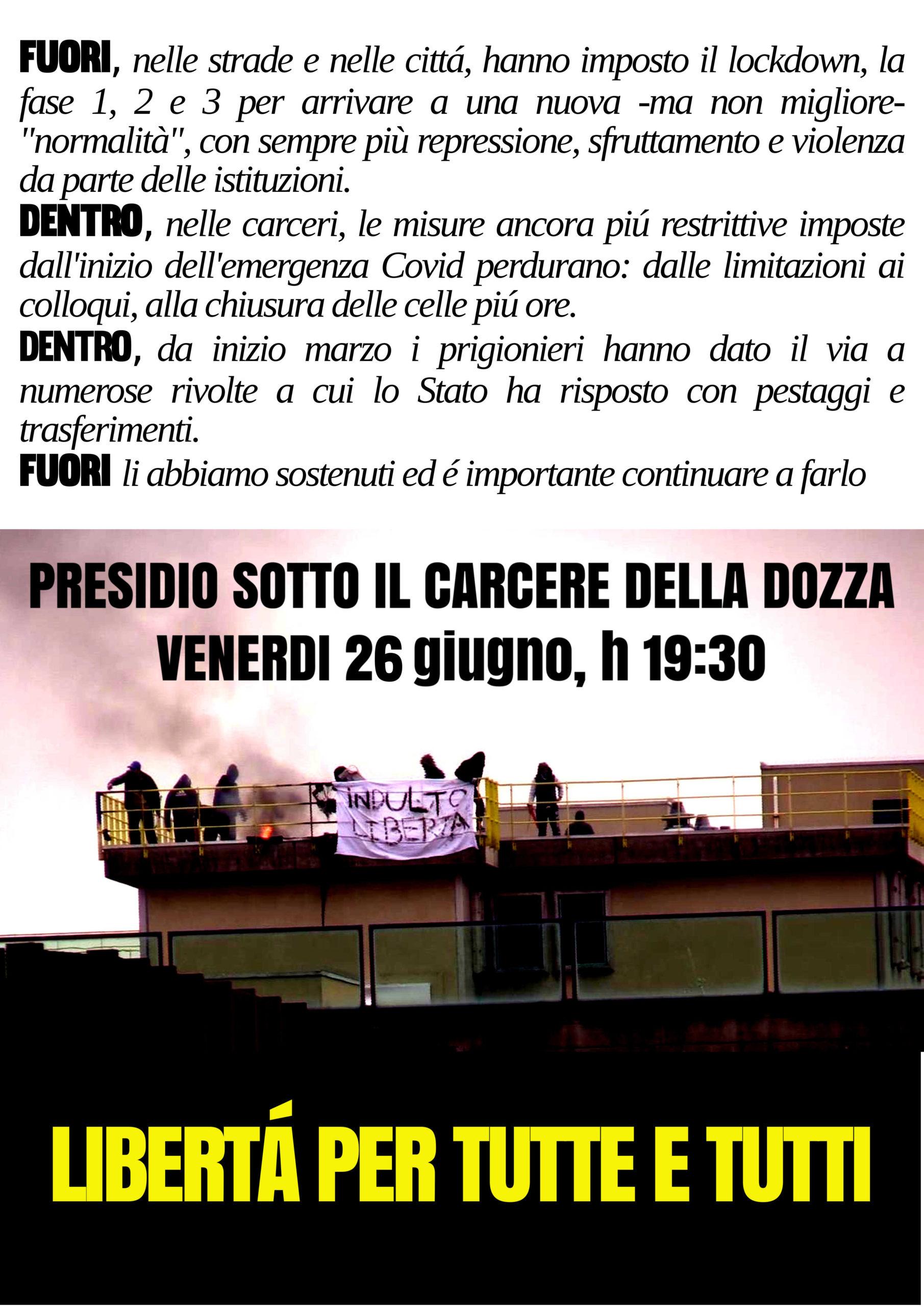 Bologna: presidio sotto la Dozza il 26 giugno