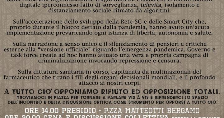 """Bergamo: Presidio """"Rompiamo l'isolamento"""" sabato 4 luglio"""