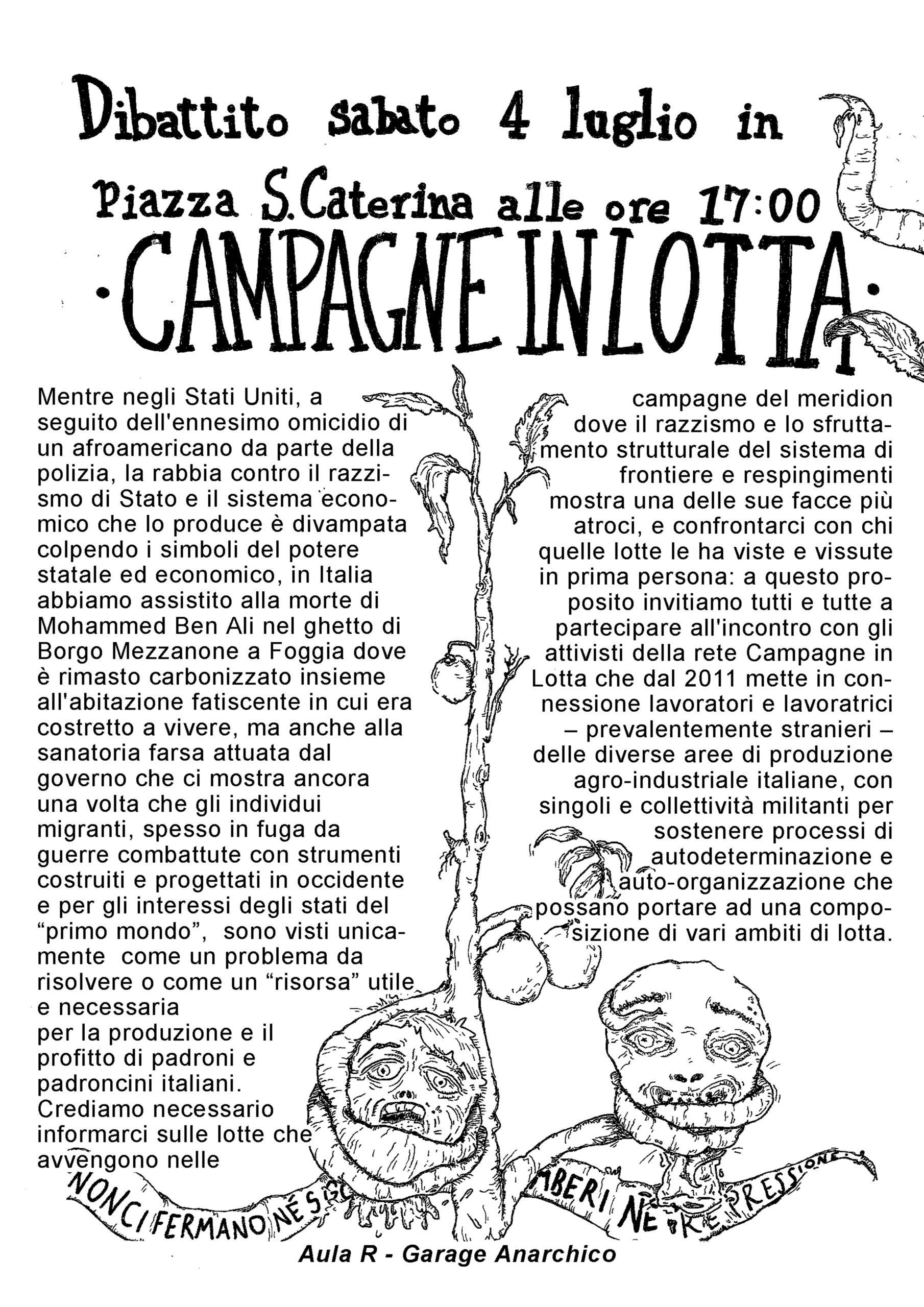"""Pisa: """"Campagne in lotta"""" dibattito in piazza il 4 luglio"""