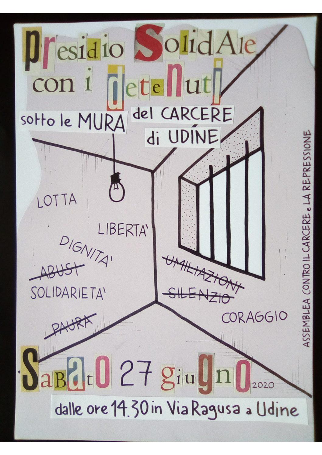 Udine: Presidio al carcere il 27 giugno