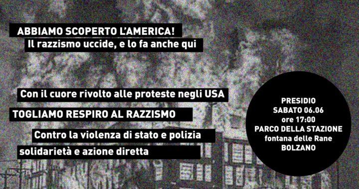 """Bolzano: Sabato 6 giugno presidio """"Abbiamo scoperto l'Amercia!"""""""
