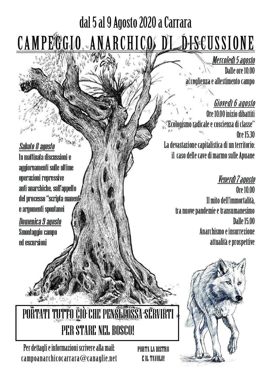 Campeggio Anarchico di discussione a Carrara dal 05 al 09 agosto
