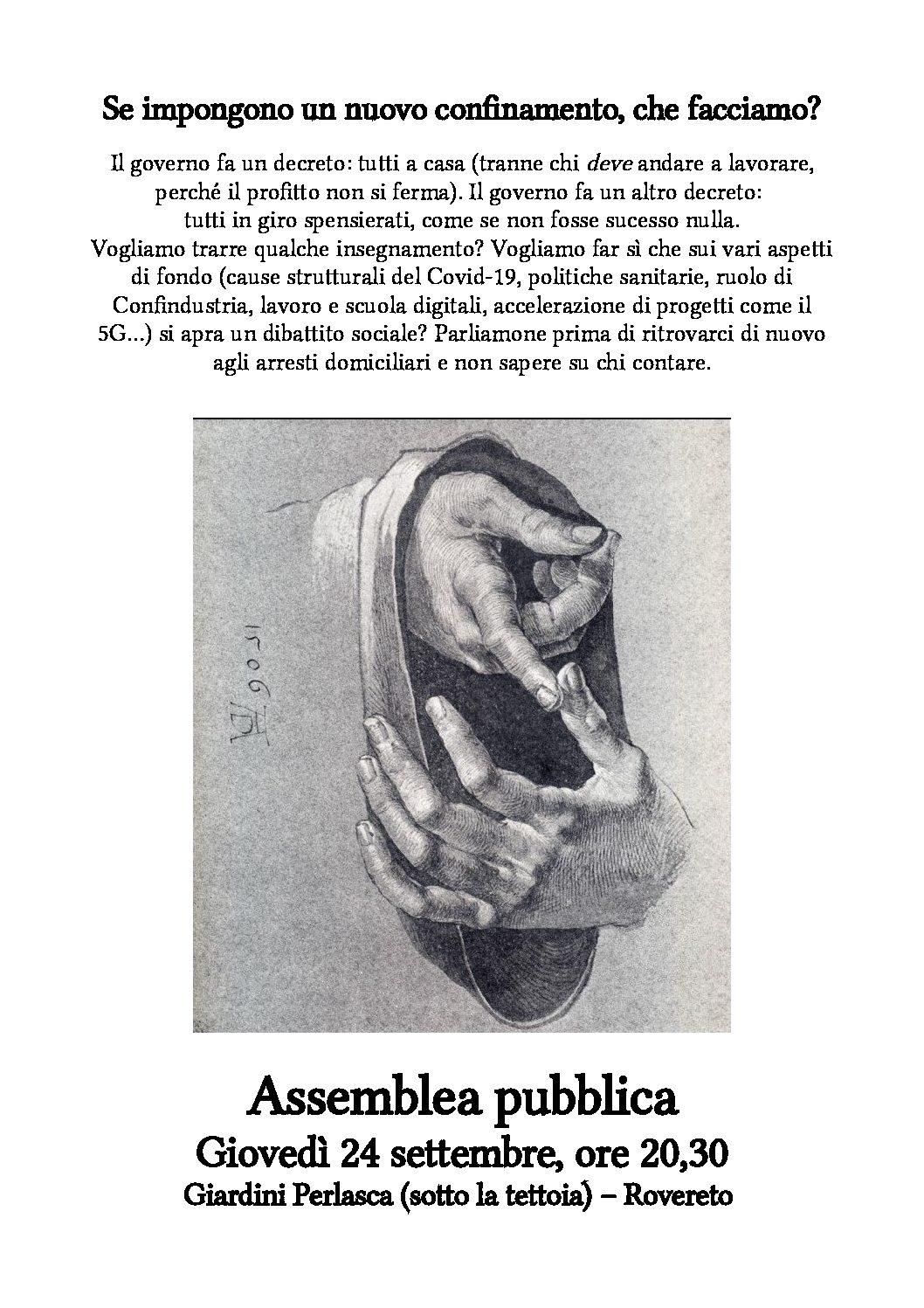Rovereto: Assemblea pubblica il 24 settembre