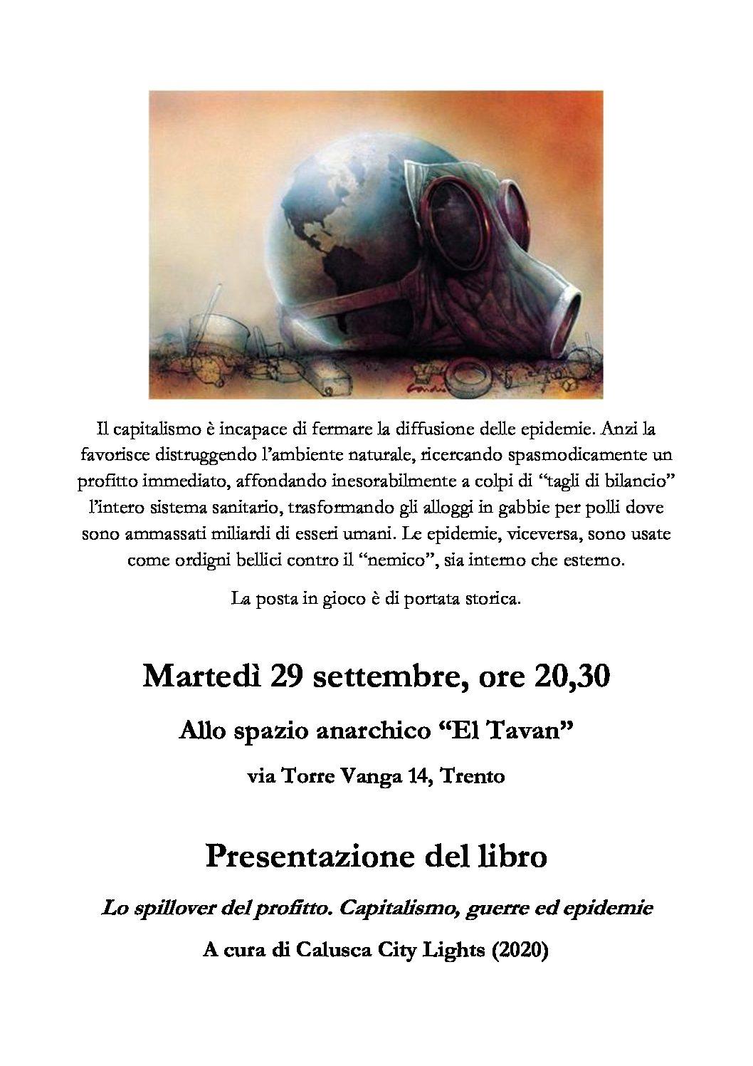Trento: Presentazione del libro: Lo spillover del profitto. Capitalismo, guerre ed epidemie