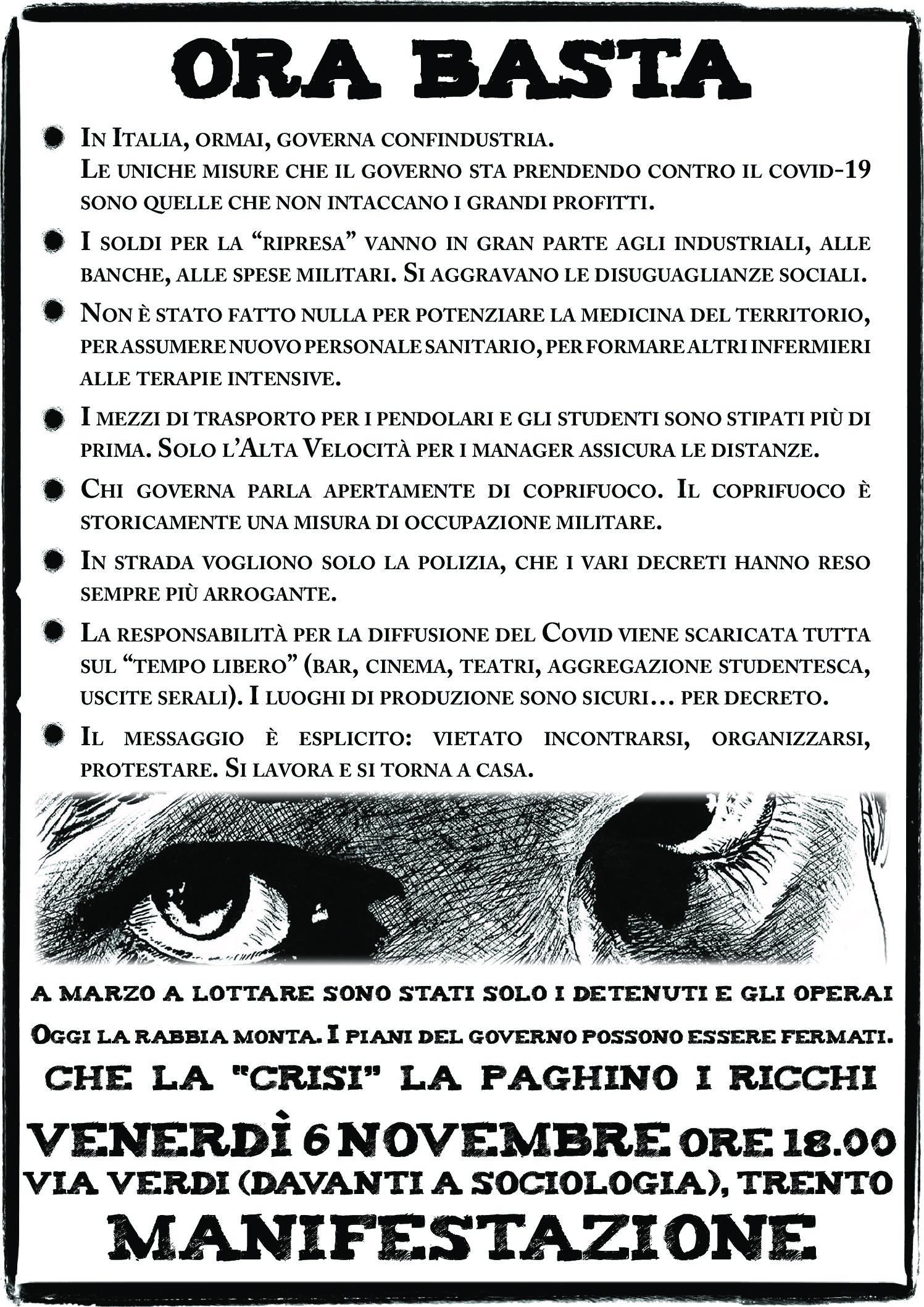 Ora Basta. Manifestazione a Trento