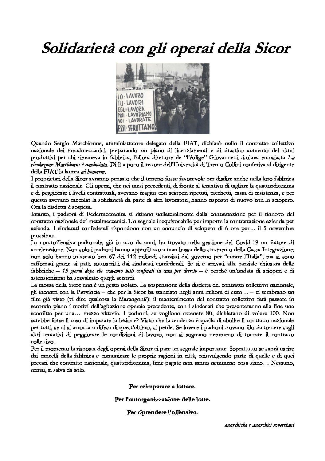 Rovereto: Solidarietà con gli operai della Sicor