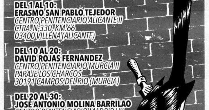 Spagna: 14 prigionieri anarchici/libertari partecipano allo sciopero della fame a rotazione