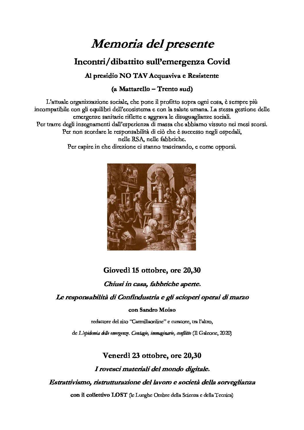 Trentino: Memoria del presente. Incontri/dibattito sull'emergenza Covid