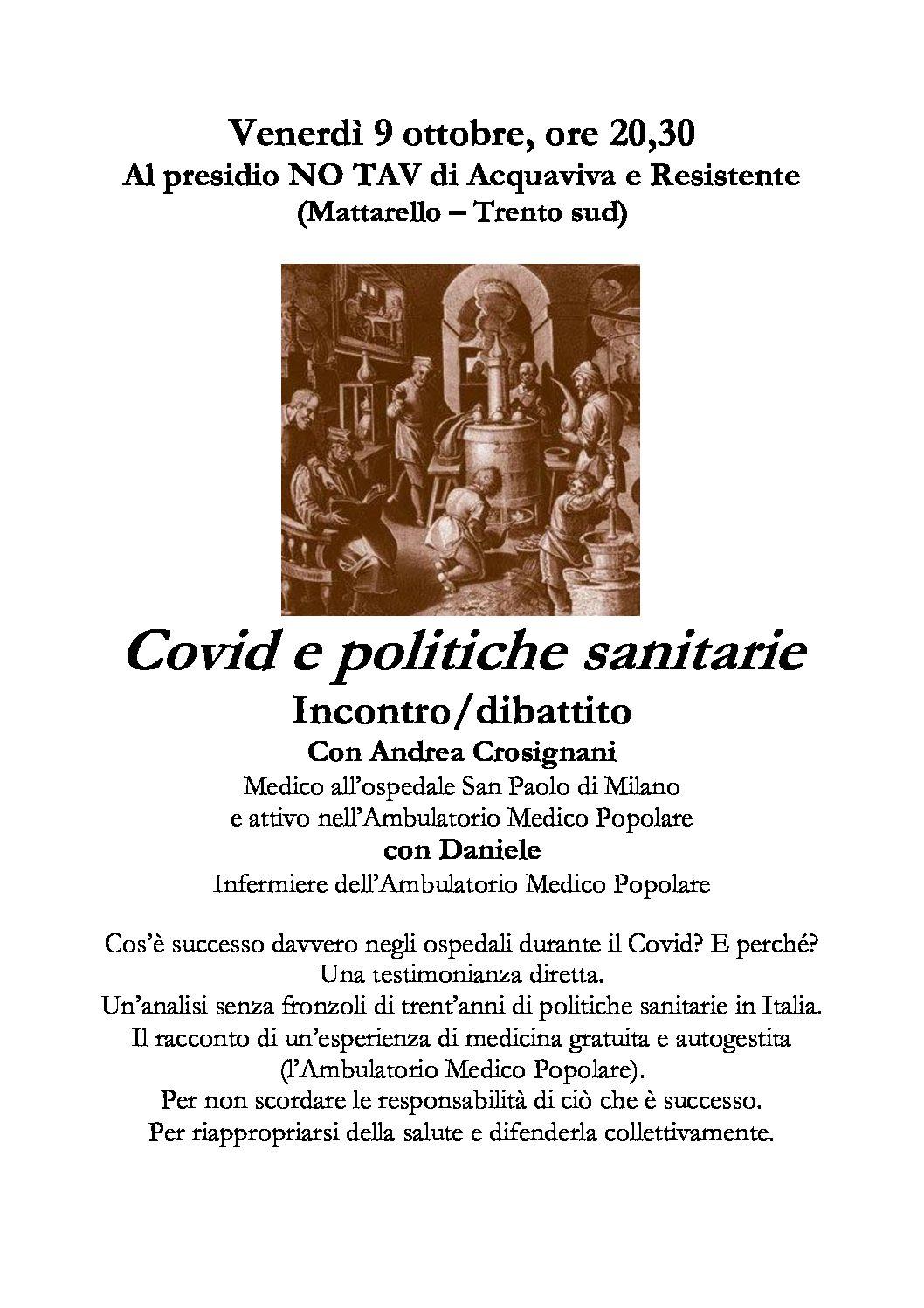 Trento: Covid e politiche sanitarie- Incontro e dibattito