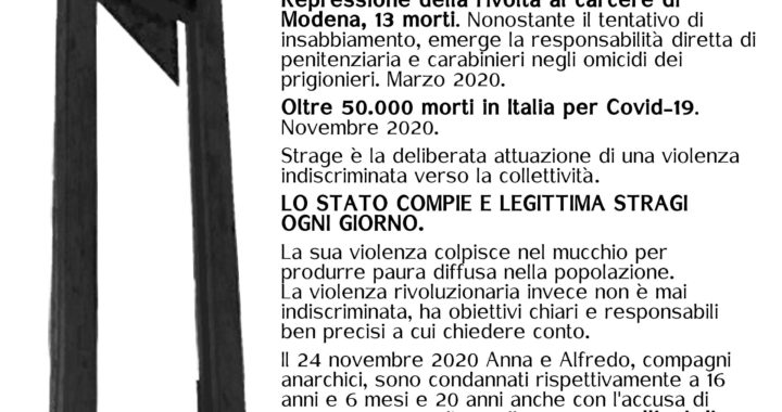 """Bologna: Presidio il 12 dicembre """"Stragista è lo Stato"""""""
