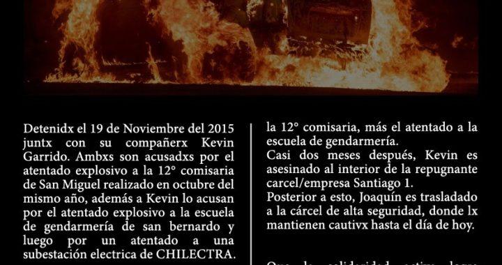 Cile: A cinque anni dall'imprigionamento del compagno Joaquín García