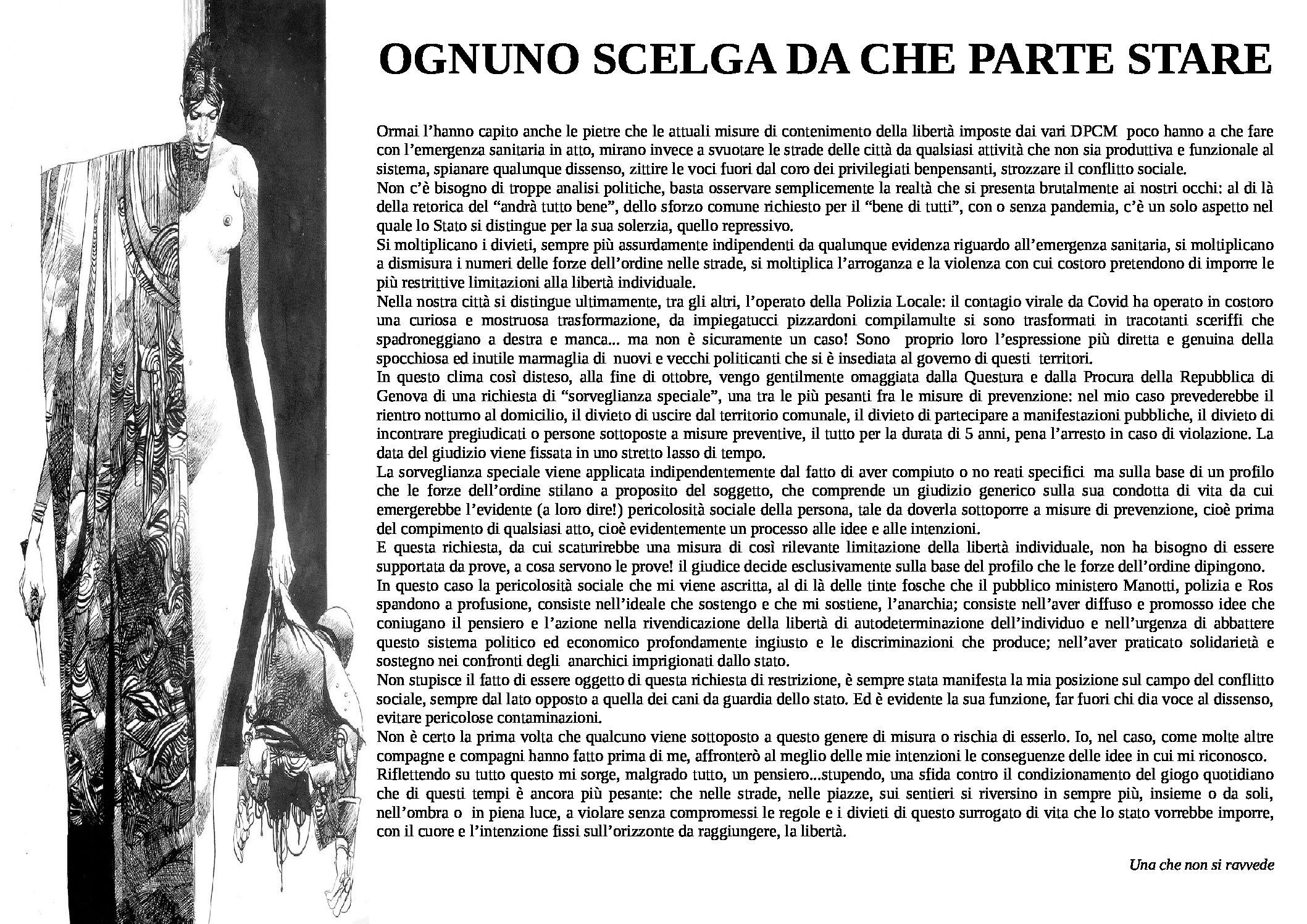 Genova: Ognuno scelga da che parte stare
