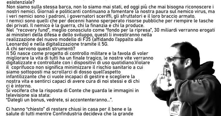 Manifesto apparso sui muri di Taranto