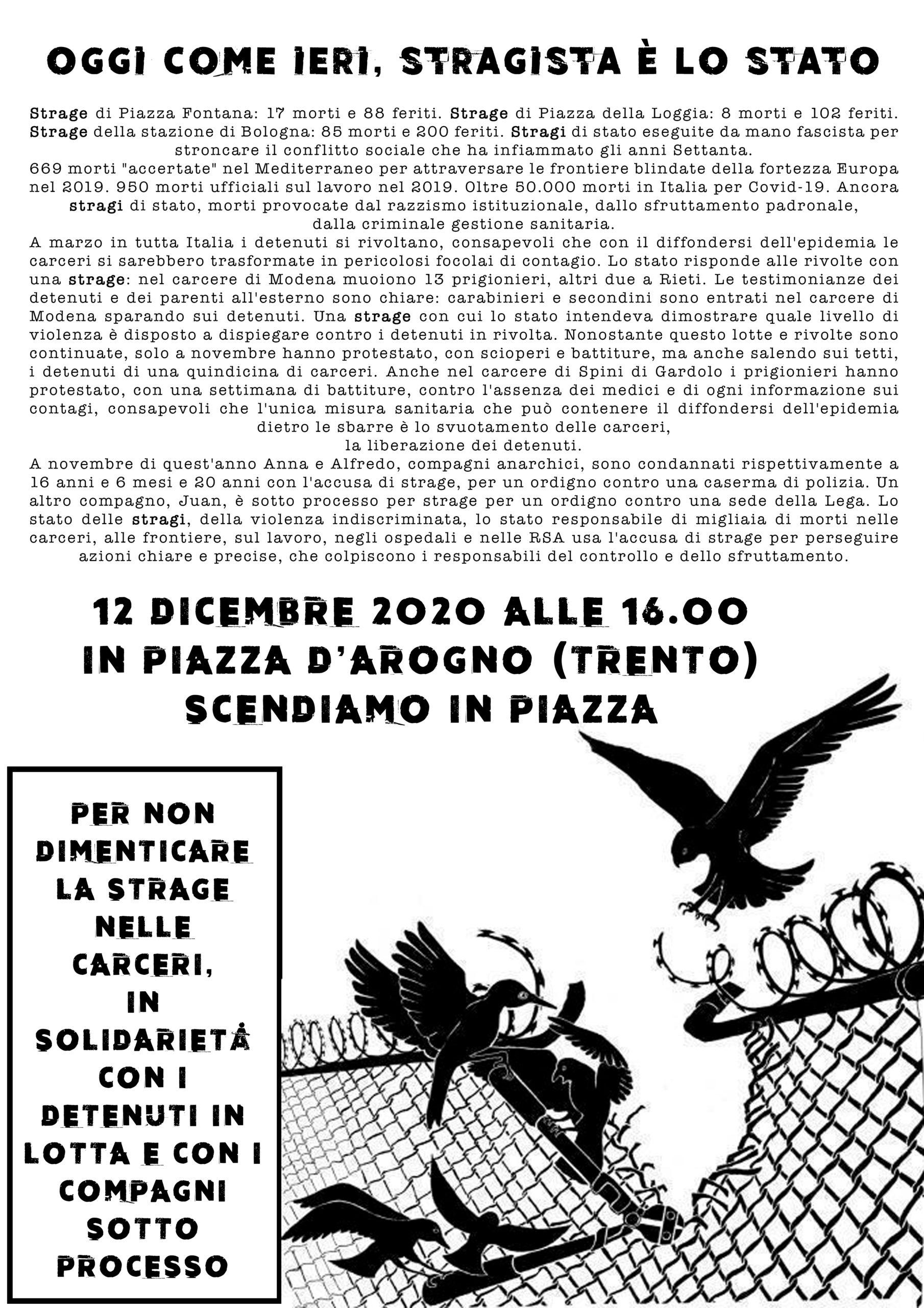 Trento 12 dicembre: oggi come ieri, stragista è lo Stato