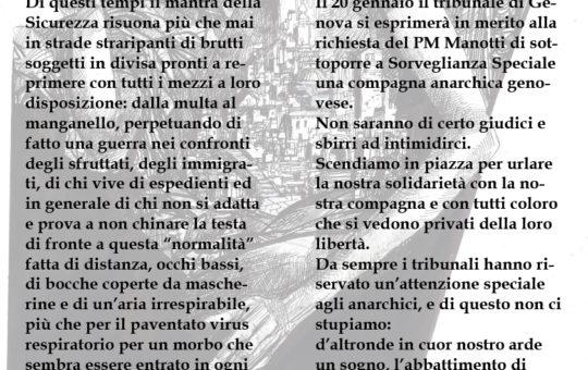 Genova: Presidio itinerante il 16.01 contro la Sorveglianza Speciale AGGIORNATO