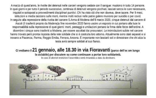 Bologna: assemblea in solidarietà ai detenuti