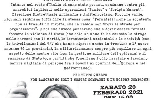 """Presidi a Trento il 20-22.02 per il processo Operazione """"Renata"""""""