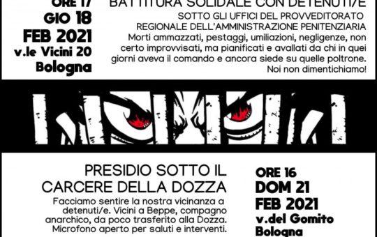 Iniziative anticarcerarie a Bologna il 18 e 21 febbraio