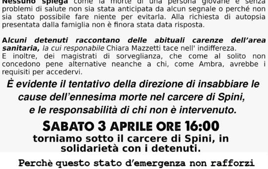 Presidio al carcere di Trento il 03/04