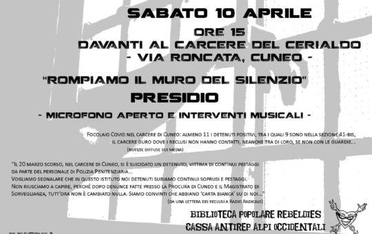Presidio al carcere di Cuneo il 10.04