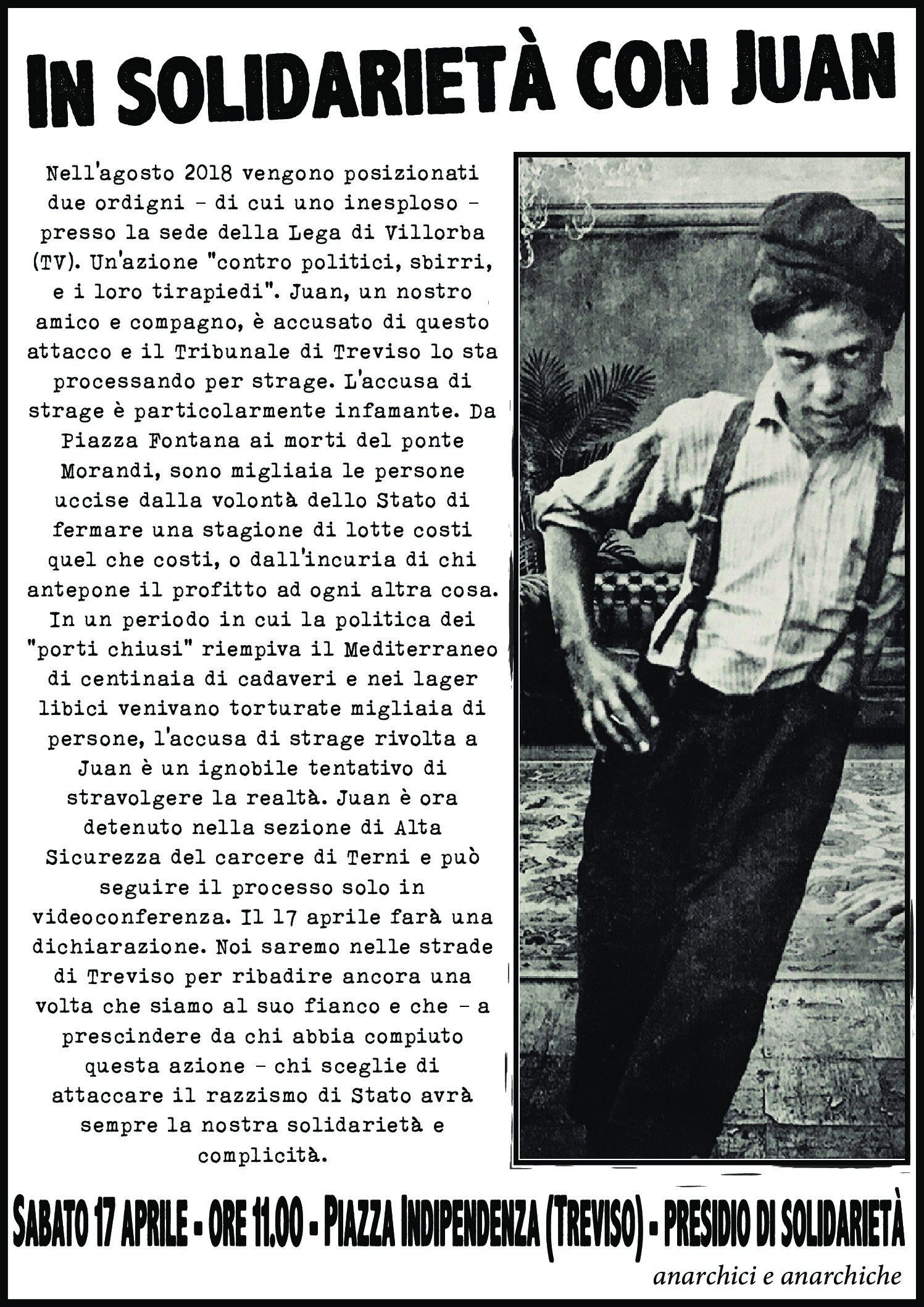 17 aprile, Treviso: iniziativa solidale con Juan