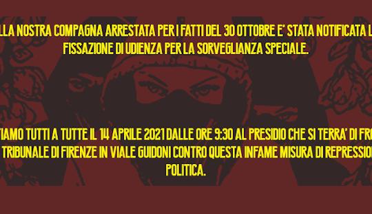 Firenze: Presidio contro la Sorveglianza Speciale