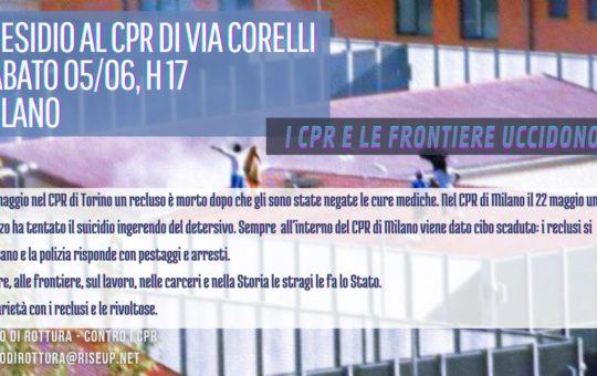 Milano: Presidio al CPR di via Corelli il 05.06