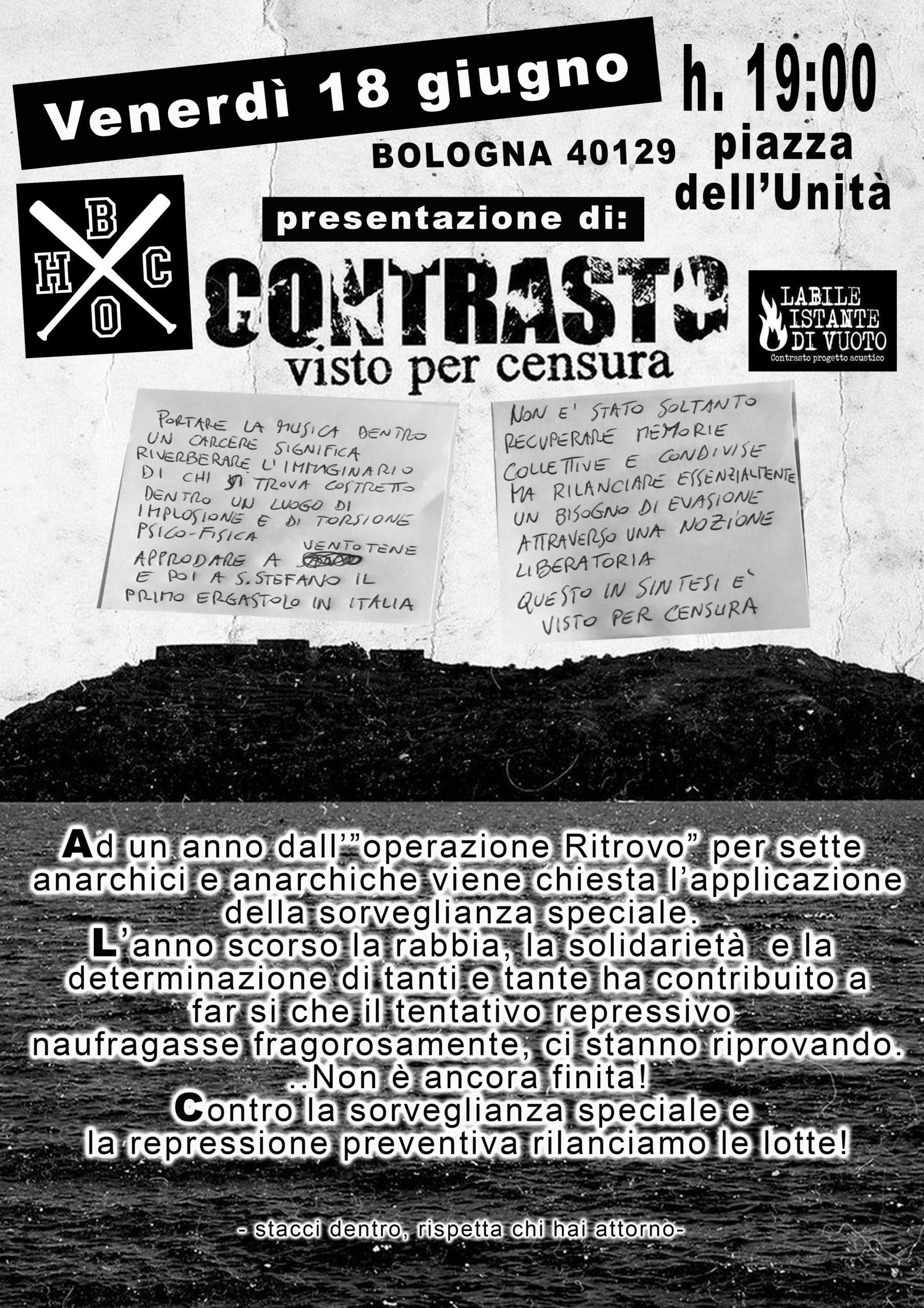 """Bologna: Presentazione di """"Visto con censura"""" contro la Sorveglianza Speciale il 18.06"""