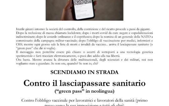Trento: Manifestazione contro il lasciapassare sanitario il 23.07