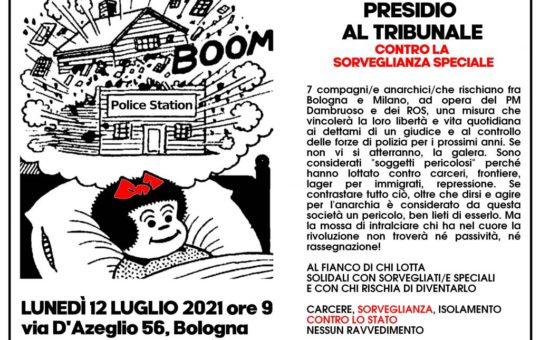 Bologna: Presidio al tribunale contro la Sorveglianza Speciale il 12.07