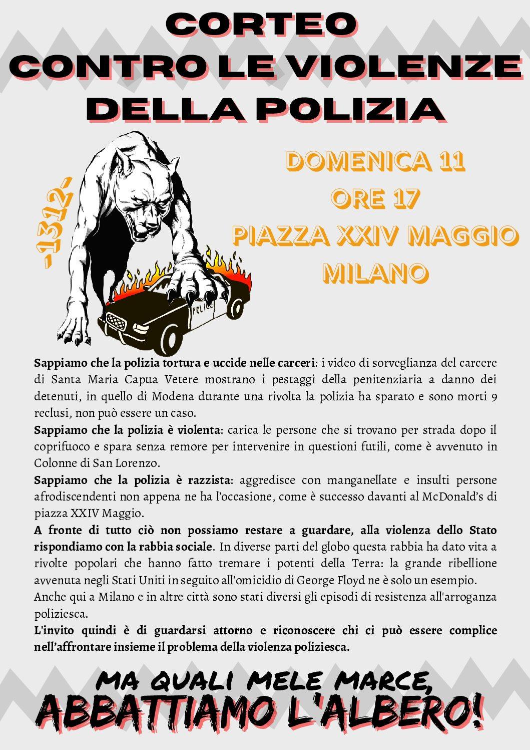 Milano: Corteo a Milano l'11.07 contro le violenza della polizia