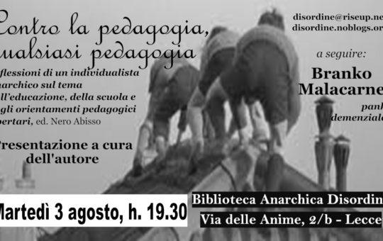 """Lecce: Presentazione """"Contro la pedagogia, qualsiasi pedagogia"""""""