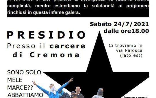 Presidio al carcere di Cremona il 24.07