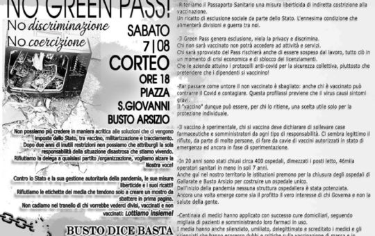 """Corteo a Busto Arsizio 08.08 contro """"No green pass!, No discriminazione, No coercizione"""""""