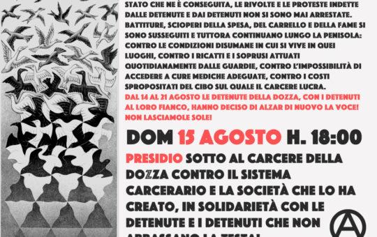 Bologna: Presidio alla Dozza il 15.08