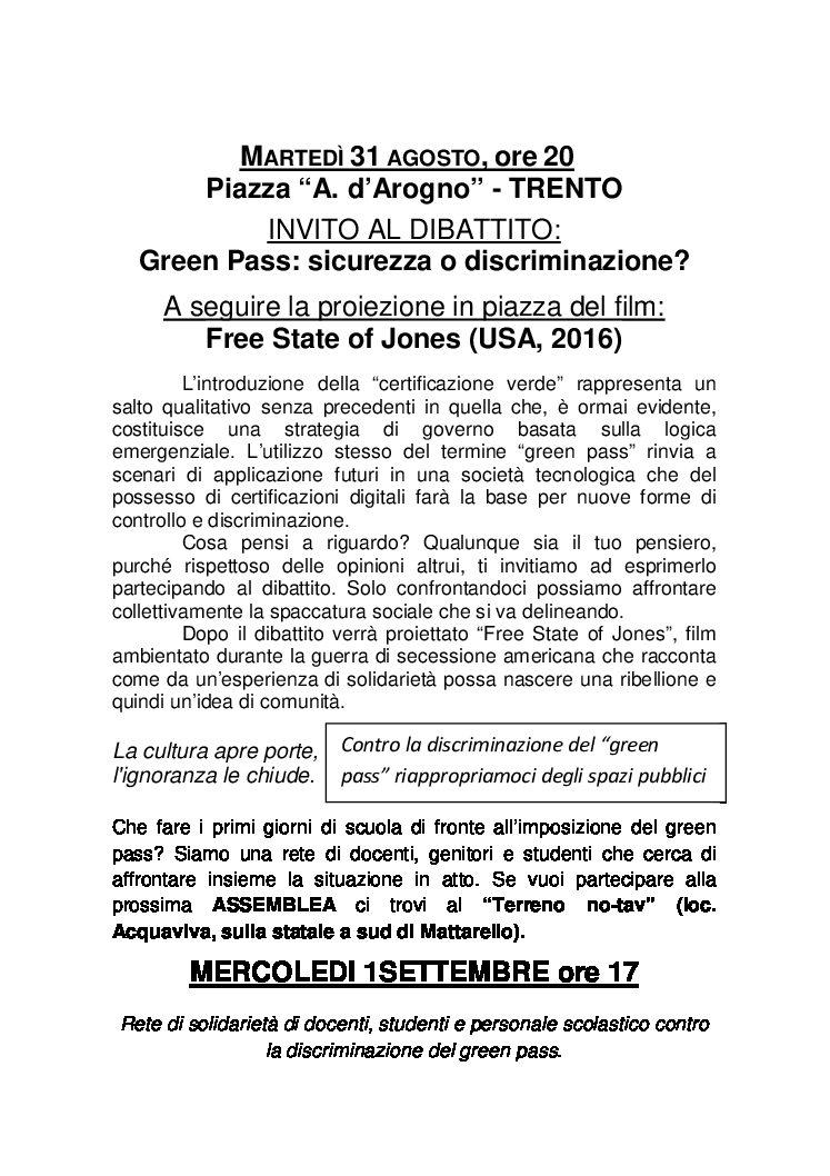 """Trento: Dibattito """"Green Pass: Sicurezza o discriminazione?"""" con proiezione il 31.08"""