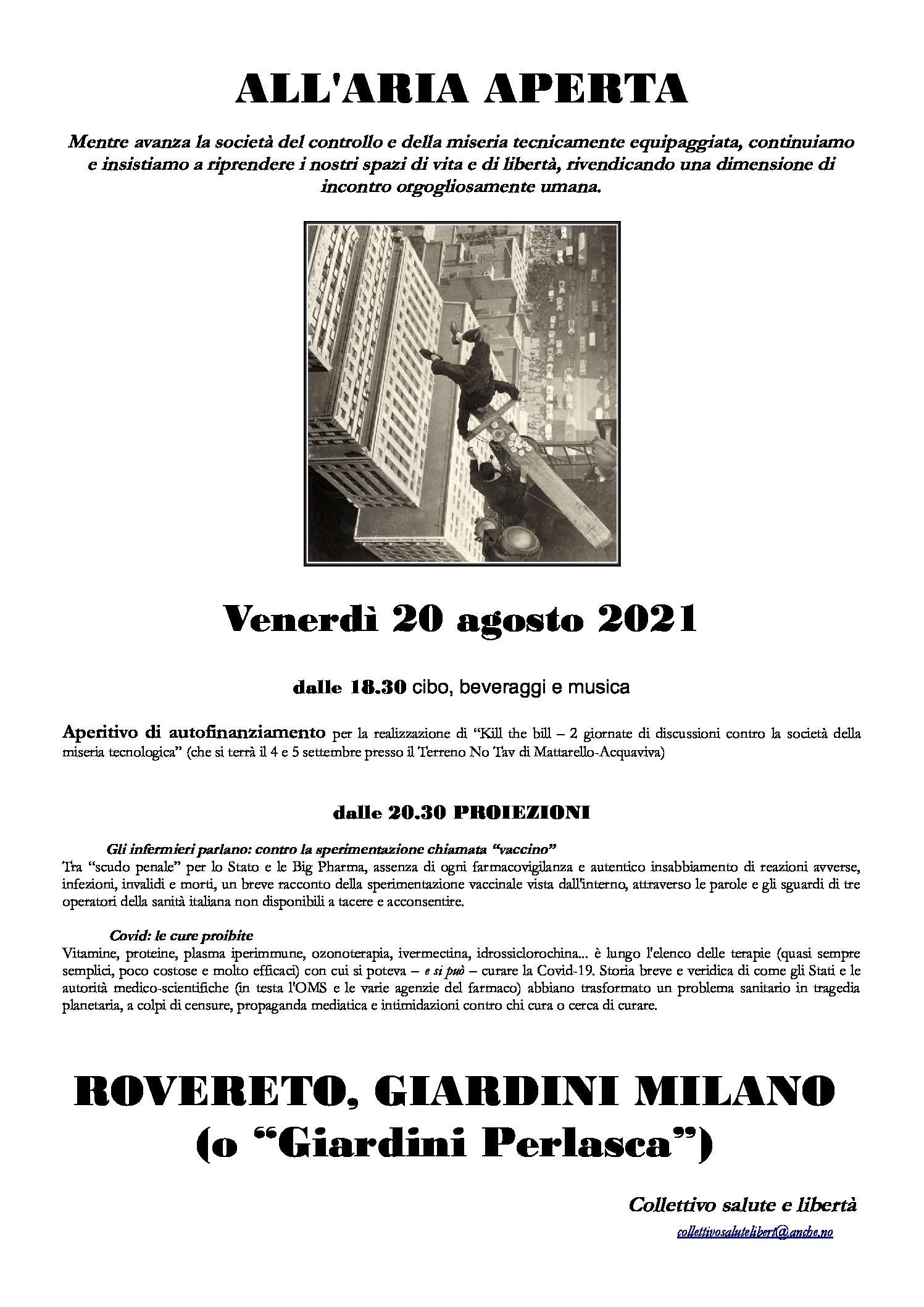 Rovereto: All'aria aperta. Aperitivo e proiezioni contro lo Stato d'Emergenza