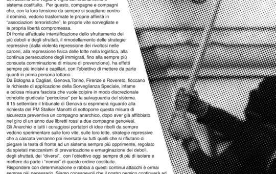 Genova: 15 settembre contro la Sorveglianza Speciale