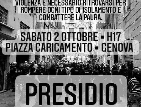 Genova: Presidio il 02.10 contro la Sorveglianza Speciale