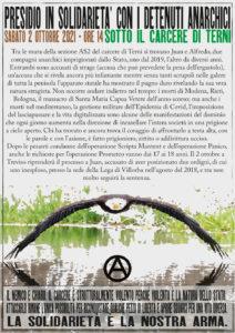 Terni: Presidio in solidarietà con i detenuti anarchici il 02.10