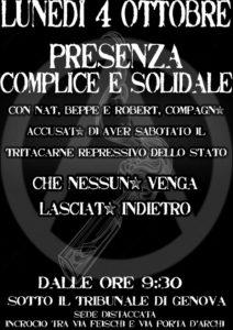 Genova: Presenza solidale il 04.10 Op. Prometeo