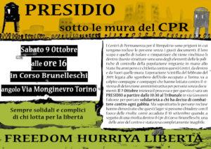 Torino: Presidio al CPR il 09.10