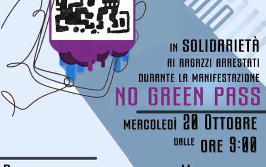 Milano: presidio di solidarietà agli arrestati durante la manifestazione No Green Pass