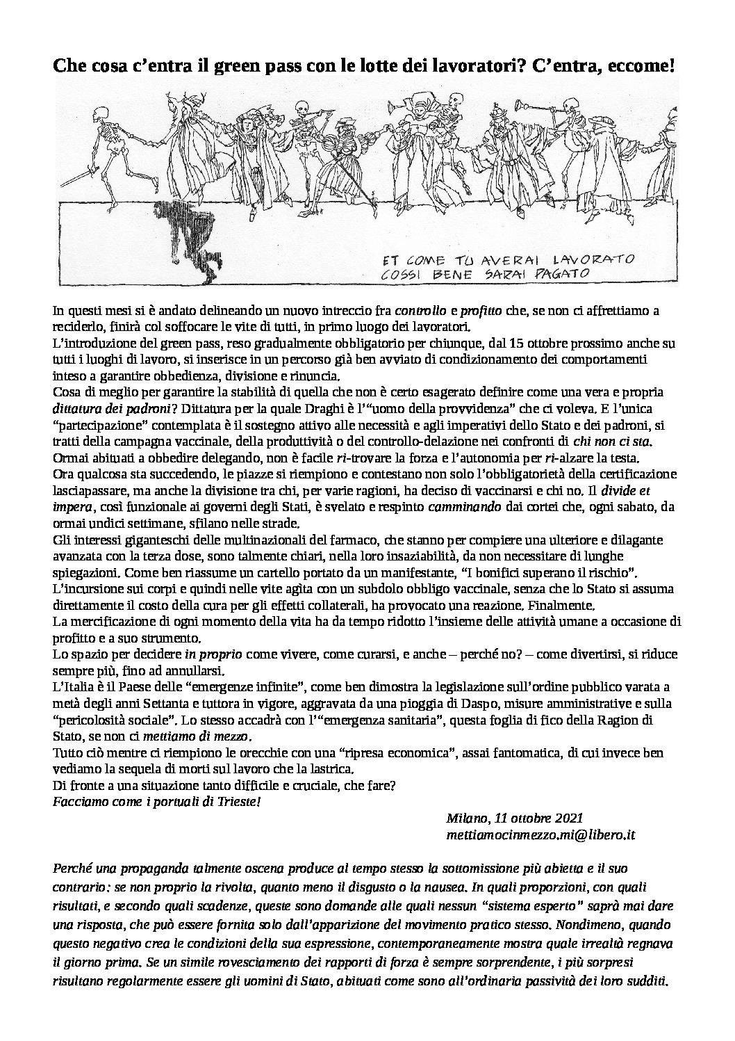 Milano: volantino distribuito in occasione dello sciopero dell'11 ottobre