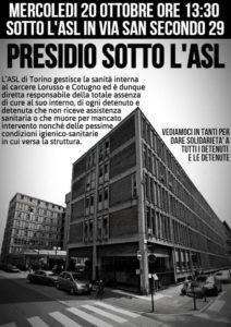 Torino: presidio sotto l'ASL in solidarietà con i detenuti e le detenute