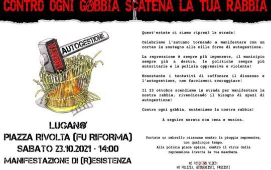 Lugano (Svizzera): corteo sabato 23 ottobre